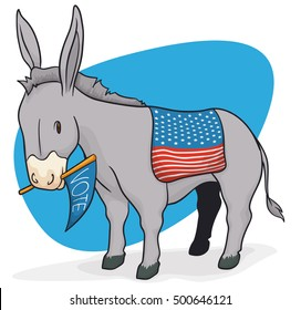 Poster with donkey and saddle like a U.S.A. flag, promoting the next American elections while holding with its mouth a pennant.