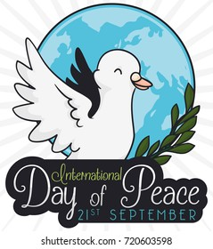 Poster with a dove flying over a rounded button with globe silhouette and olive branch to commemorate International Day of Peace.