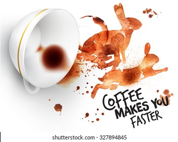 Poster drawn imprint of rabbit and inverted cup, lettering coffee makes you faster.