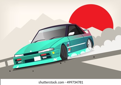 Poster with a drift racing car entering a turn near Fujiyama mountain. With a huge red sun on the background. Retro turbo car for drifting racing.