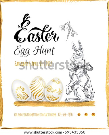 Poster Easter Egg Hunt Calligraphy Gold Stock Vector (Royalty Free ...