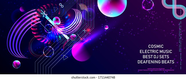 Poster electric musik futuristic space bubbles 3d cluster pastel shades decorative color abstract vector illustration music galaxy design