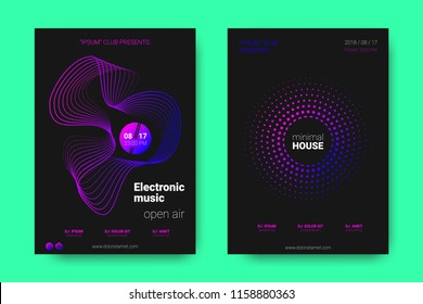 Poster of Electronic Music Night Party. Abstract Vector Background. Colorful Wave Lines and Equalizer. Minimal Party Flyer Design. Distortion of Rounds. Modern Music Covers of House Music Party.
