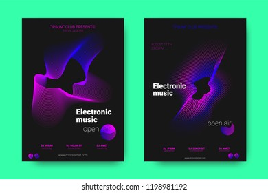 Poster of Electronic Music Night Party. Abstract Vector Background. Colorful Wave Lines and Equalizer. Minimal Flyer Design. Distortion of Rounds. Modern Music Covers of House Music Event.