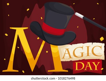 Poster with elegant top hat over a golden M letter next to scroll and ribbon, over a theater curtain in the stage, ready for the upcoming show in Magic Day.