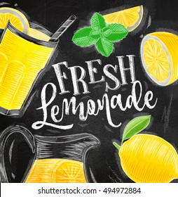 Poster with elements glass, lemon, jug, mint lettering fresh lemonade drawing with chalk on chalkboard background