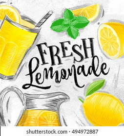 Poster with elements glass, lemon, jug, mint fresh lettering fresh lemonade drawing on dirty paper background