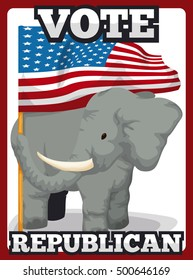 Poster with elephant holding U.S.A. flag supporting the Republicans in the next elections.