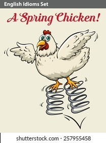 Poster with an English idiom showing a spring chicken