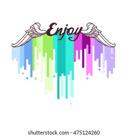 """Poster """"Enjoy"""" with multicolor dripping paint. Vector illustration / logo / label / tattoo"""