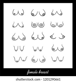Poster with Female breast of different Types, Sizes and Forms on a white background. Vector Female Breast Set. Illustration in graphic style (hand-drawn)