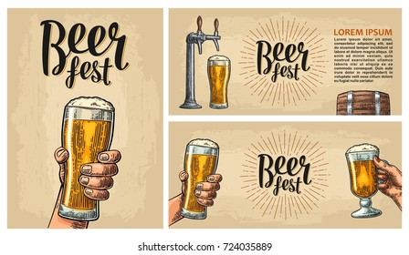 Poster for festival or invitation to party. Beer fest lettering with ray. Wood barrel and hands holding glass. Vintage vector engraving illustration on beige background.