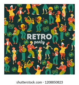 Poster of the festival of jazz music. Retro party. People dance rock and roll. Musicians play saxophone and trumpet. Jazz singer. A large set of characters in the style of 70-80 years.