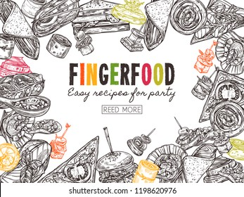 Poster with finger food background, template for website. Snacks, appetizers, mini canapes, sandwiches, seafood, hamburger, rolls. Vector illustration in monochrome hand drawn sketch style