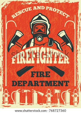 Poster For Firefighter Department Design Template In Retro Style Fire And Banner