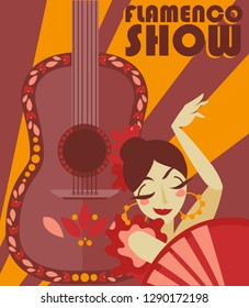 Poster for flamenco show, gypsy dancer and guitar, vector illustration