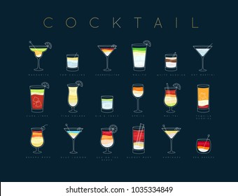 Poster flat cocktails menu with glass, recipes and names of drinks drawing horisontal on dark blue background