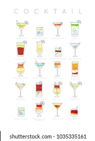 Poster flat cocktails menu with glass, recipes and names of drinks drawing on white background