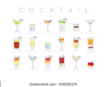 Poster flat cocktails menu with glass, recipes and names of drinks drawing horisontal on white background