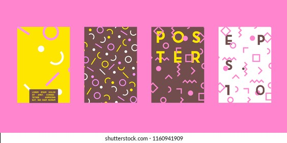 Poster with flat geometric pattern. Cool colorful backgrounds. Applicable for Banners, Placards, Posters, Flyers. Vector illustration.