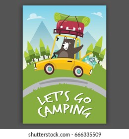 Poster Flat illustration Let's go camping Concept. A bear with car go mountains. Summer camping in the forest holiday.