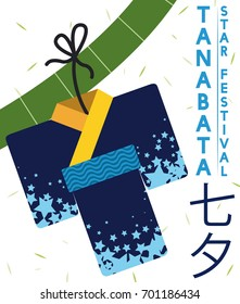 Poster in flat style with beautiful origami kimono (or Kamigoromo) with starry design hanged in a bamboo branch for Tanabata or Star Festival (written in Japanese).