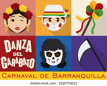Poster in flat style with characters of Barranquilla's Carnival (written in Spanish): male and female Garabato's dancers, with the decorated stick that represents life and the death and its scythe.