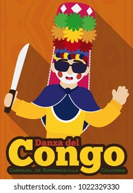 Poster in flat style with long shadow effect with traditional Congo's dancer saluting at you, holding traditional hat with flowers and machete for Barranquilla's Carnival (written in Spanish).
