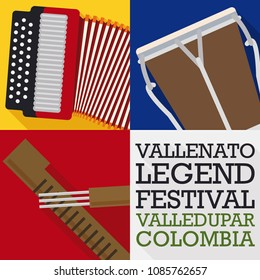 Poster in flat style and long shadow for Vallenato Legend Festival with traditional musical instruments: accordion, caja and guacharaca.