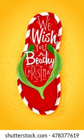 Poster flip flop lettering we wish you a beachy Christmas drawing on sand background