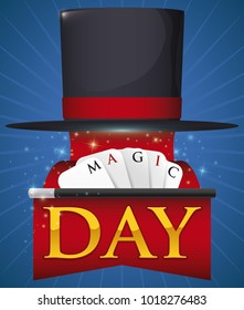 Poster with floating top hat, unfolding a infinite red ribbon, a wand and cards with greeting message for Magic Day celebration.