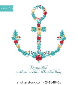 Poster with flower formed anchor, wedding invitation template, vector illustration