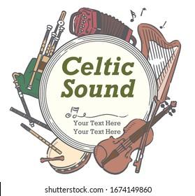 Poster or flyer design with Celtic instruments.  Vector illustration.