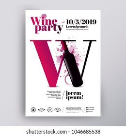 Poster or flyer design template for wine event. Wine letter concept and bottle illustration. Background spots and wine drops. Vector. Layered