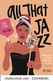Poster, flyer or invitation template for jazz music performance, event or concert with African American female singer or vocalist singing in microphone. Modern vector illustration in flat style.