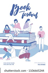 Poster, flyer or invitation template for literary festival with young people dressed in trendy clothes sitting on stack of giant books and reading. Vector illustration for event advertisement, promo.