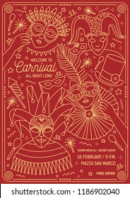 Poster, flyer or invitation template for masquerade ball, carnival, festival or party with characters wearing festive masks and costumes. Vector illustration in line art style for event announcement.