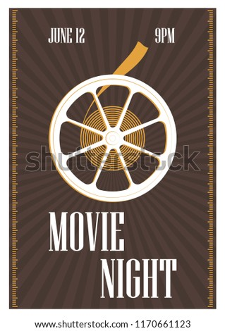 Poster Flyer Invitation Template Movie Night Image Vectorielle De