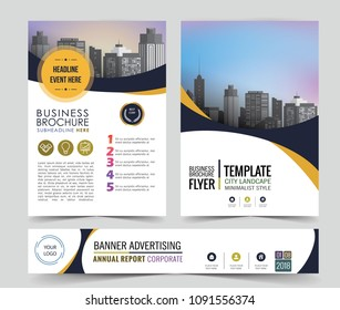 poster flyer pamphlet brochure cover design layout space for annual report template in A4 paper size banner included