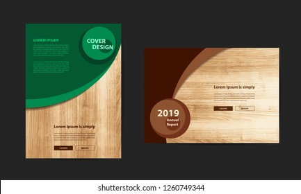 Poster flyer pamphlet brochure cover design layout with texture of wood background, Vector illustration template in A4 size