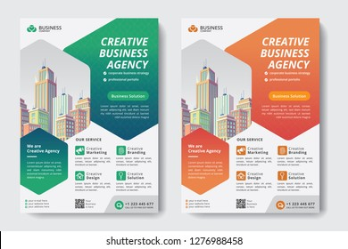poster flyer pamphlet brochure cover design layout background, two colors scheme, vector template in A4 size - Vector