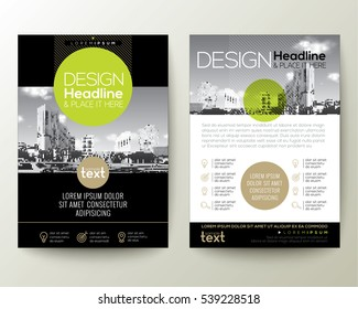 poster flyer pamphlet brochure cover design layout with circle shape graphic elements and space for photo background, black, green, gold color scheme, vector template in A4 size