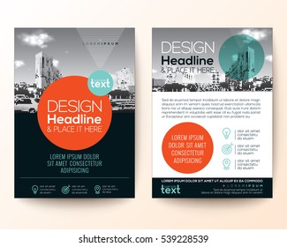 poster flyer pamphlet brochure cover design layout with circle shape graphic elements and space for photo background, black, red, turquoise color scheme, vector template in A4 size