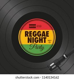 Poster, flyer reggae night party, vinyl style. Editable vector design.
