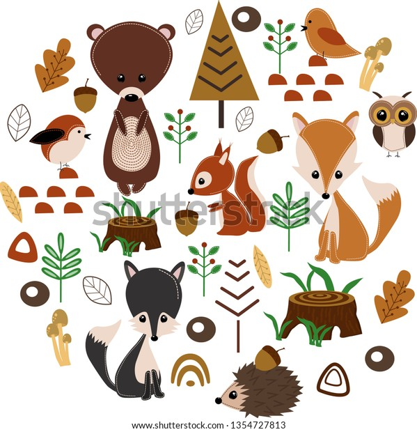 Poster Forest Animals Vector Illustration Eps Stock Image ...