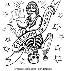 """Poster """"Freedom or death?"""" Painted in the style of an engraving in a vector. The image can be used for the design of posters, stationery, tattoos, textiles, clothes, etc."""