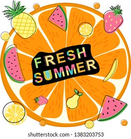 poster fresh summer with fruits - vector illustration, eps