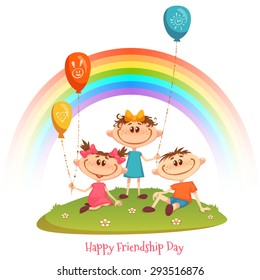 Poster with Friendship Day title and children, rainbow, flower and balloons. Vector illustration.