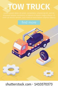 Poster with Fulltime Tow Truck Assistance Offer. Emergency Vehicle Towing and Roadside Service Advertising Vector 3d Template. Isometric Evacuator Transporting Fixed on Crane Car Illustration