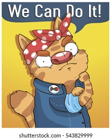 Poster funny cat says we can do it vector